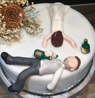 Personalised Drunk Bride & Groom Wedding Cake Topper Humour Funny Figurines