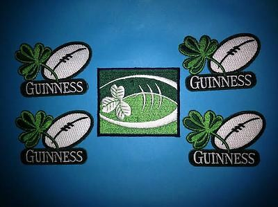 5 Lot Guinness Irish Beer Clover Rugby Ball Iron On Hat Jacket Patches Crests K