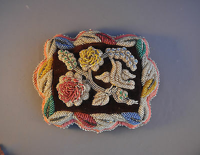 Old Early Large Beaded Pillow - Iroquois Indian -  Flowers &  Humming Bird  1900