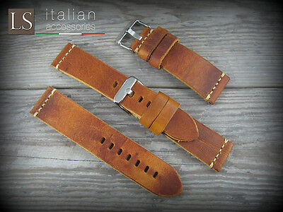 Cinturino in Pelle CUOIO VINTAGE LARGE 22 mm Watch Strap Band Miele bruciato