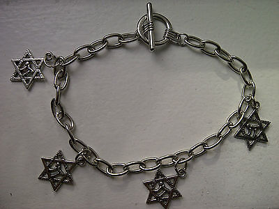 Silver Plated Jewish Star Of David Chai Pendant Charm Bracelet, Anklet Toggle