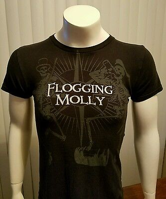 Flogging Molly Band T Shirt Green 17 Tour Countdown St Pattys Punk Skeleton OOP