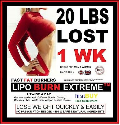 60 Lipo Burn Extreme Weight Loss No.1 Fat Burners Strongest Diet Slimming Pills