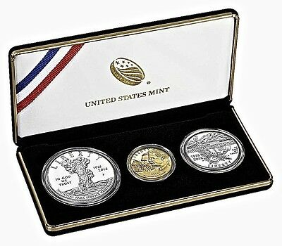 2016 NATIONAL PARKS 3 COIN PROOF SET Includes $5,$1 Silver, 50C-MINTAGE 14,589