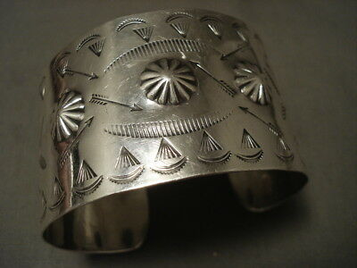 Huge Early 1900's Vintage Navajo Hand Wrought Coin Or Sterling Silverl Bracelet