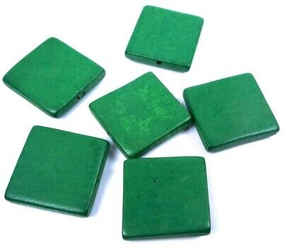 6 Wood Flat Square Beads 30mm - Green