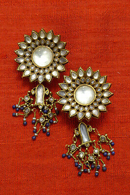 Antique 20K gold Mughal fish earrings, North India 19th century