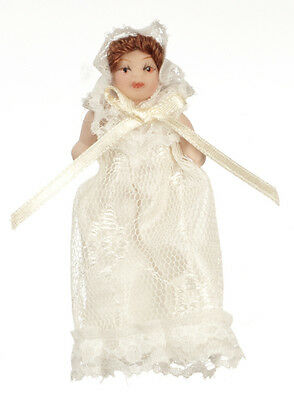 Dollhouse Miniature Doll - Baby Porcelain Victorian Style Christening Dress 1:12
