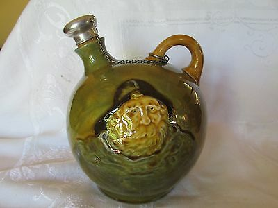 Rare Royal Doulton Green Kingsware Fisherman Whiskey Flask Noke Silver Stopper