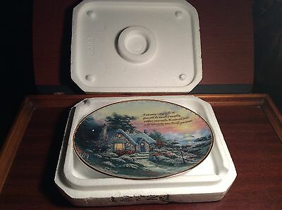 "Thomas Kinkade's Guiding Lights Ltd. Ed. Plate ""Cottage By The Sea"" 1998 Bradfor"