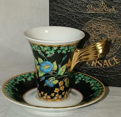 VERSACE Gold Ivy Wings Espresso COFFEE Cup & Saucer by Rosenthal NEW IN BOX