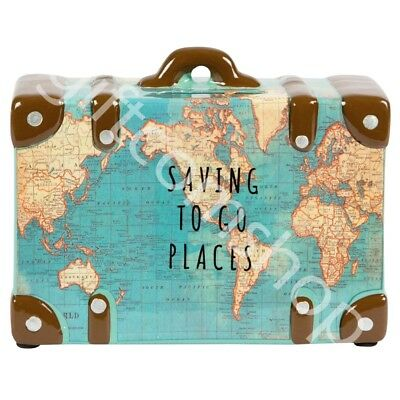 Vintage Map Design Money Pot 'Saving To Go Places' Piggy Bank Money Box Gift
