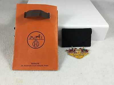Hermes Employee Pin Red Dogs Girls Enamel Gold Tone for Christmas Or Not!