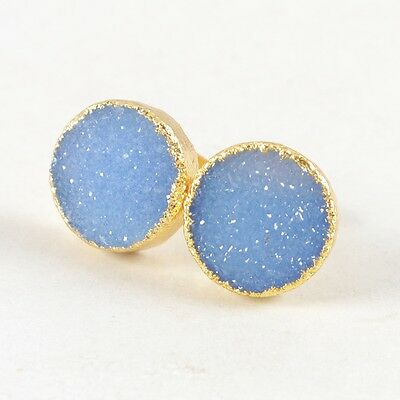 12mm Round Blue Agate Druzy Geode Stud Earrings Gold Plated H83817