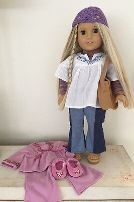 American Girl Doll Julie Albright In Meet Outfit With Pink Pj's And Slippers.
