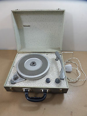 "VINTAGE PORTABLE VALVE RECORD PLAYER ""WESTMINSTER"" - WORKING CONDITION, 60s PROP"