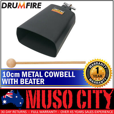New Drumfire 10cm Metal Cowbell with Wooden Beater Hand Percussion