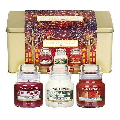 Yankee Candle 3 Small Jar Red Festive Gift Set FREE P&P