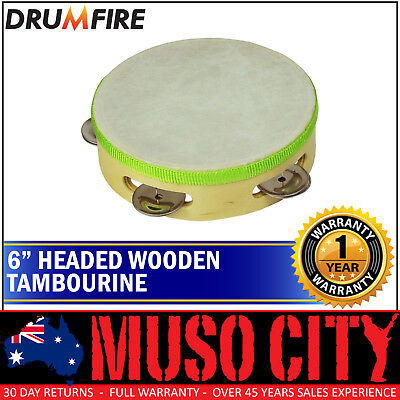 """New Drumfire 6"""" Wooden Headed Tambourine Kids Percussion Rhythm Toy Music"""