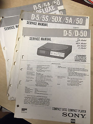 Sony Service Manual for the D-5 D 50 14 5A 5S 5DX Discman CD Player ~ Repair