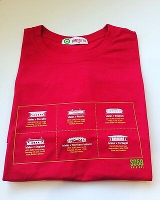 Wales football Spirit of 58 Wales In France stadium t-shirt BNWT M RED