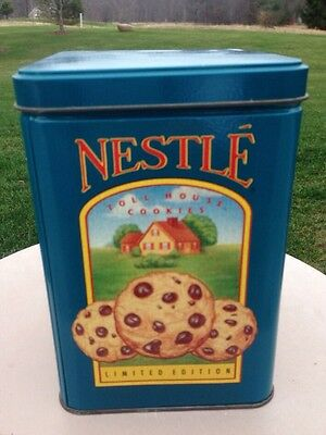 Vintage Metal Tin Box Blue Toll House Nestle Morsels Chocolate Chip Cookies Farm