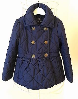 Ralph Lauren Polo Girl's Coat Jacket Quilted Button 4t Toddler Navy Blue