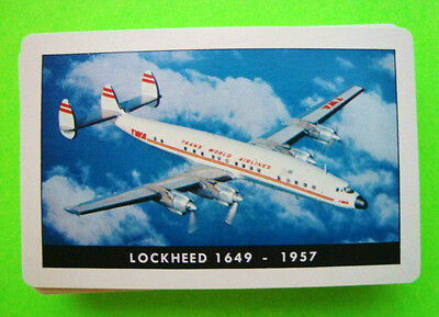 Vintage TWA AIRLINES PLAYING CARDS Complete Deck 1957 CONSTELLATION Xlnt In Box