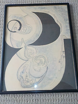 Vintage Abstract Surrealist Mixed Media Collage, Signed Fernandes '71