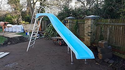 "Swimming Pool Blue 7'6"" High  Curved Pool Slide Complete With Legs With Base"