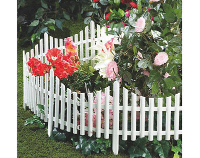 Set Of 4 White Flexible Garden Lawn Edging Plastic Picket Fencing  - New