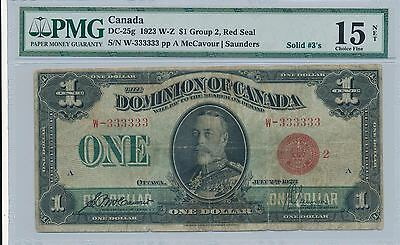 Dominion of Canada $1 Dollar 1923 DC-25g SOLID 3's!!!!!!! PMG15  -  VERY RARE