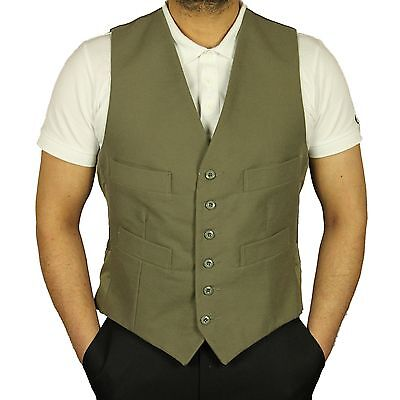 Mens Brand New Casual Formal Moleskin Waistcoat Carabou In Light Olive Colour