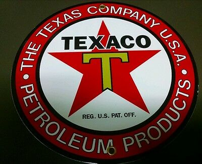 """TEXACO Petroleum Products Gas Oil Porcelain advertising Sign ~9"""""""