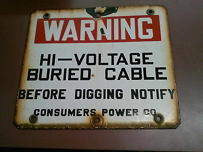 Vintage Advertising Porcelain Consumers Power Co. High Voltage Sign