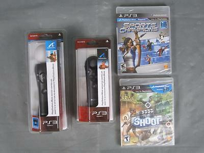 Brand New Sony PS3 Playstation 3 Move Controller Set w/ The Shoot & Sports Games
