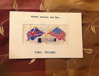 Rare Silk Postcard Titanic Hands Across Sea White Star Line Postmarked & Stamped