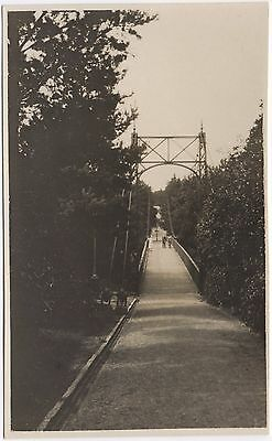 Real Photo Postcard People On Foot Path Bridge Unknown Location Where ?
