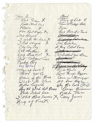 Johnny Cash Handwritten Set List Ex Sotheby's