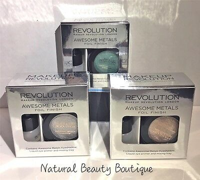 MAKEUP REVOLUTION AWESOME METALS Foil Finish EYESHADOW & LIQUID EYE PRIMER SET