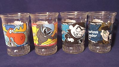 Adventures Of Rocky And Bullwinkle Glass Bama Jelly Jars Collectible #1,2,3,5