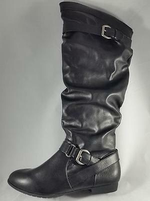 Women's RAMPAGE BRIANNA Black Knee-High Pull-On Casual Low Heel Dress Boots NEW