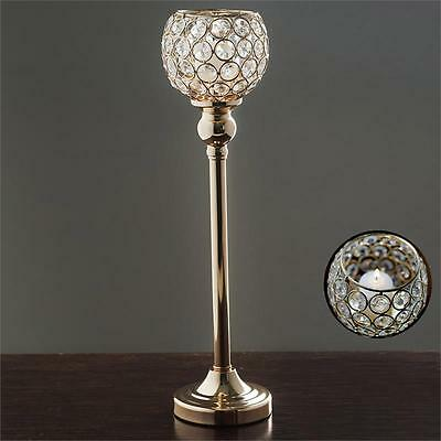 "GOLD METAL 16"" Beaded Ball CANDLE HOLDER Wedding Party Dinner Centerpiece"