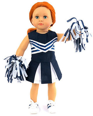 Navy & White Cheer Leader with Pom Poms for 18 inch American Girl Doll Clothes