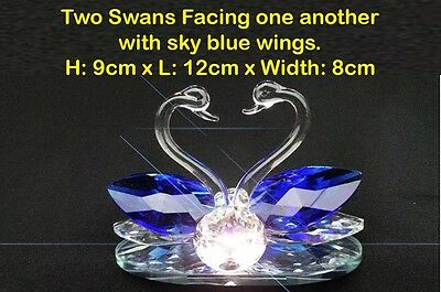Pair of Swans Crystal Cut Clear Swarovski Element Sky Blue Wings Ornament Solid