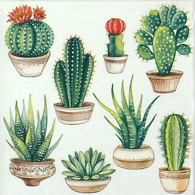 4x Paper Napkins for Decoupage Decopatch Craft Cactus