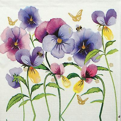 4x Paper Napkins -Violet Pansies- for Party, Decoupage