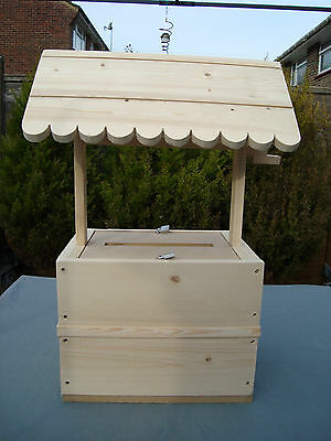 Wooden lockable wishing well for sale unpainted free postage in uk