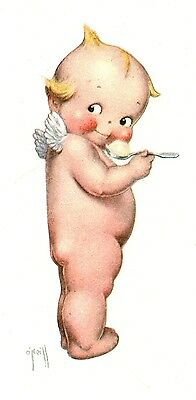 VINTAGE 1930's UNCIRCULATED HENDLERS ICE CREAM KEWPIE SIGNED LITHOGRAPH PRINT