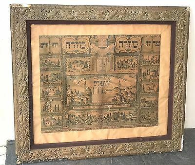 Antique 18/19th Century Judaical Print Of The City Of Jerusalem   FRAMED